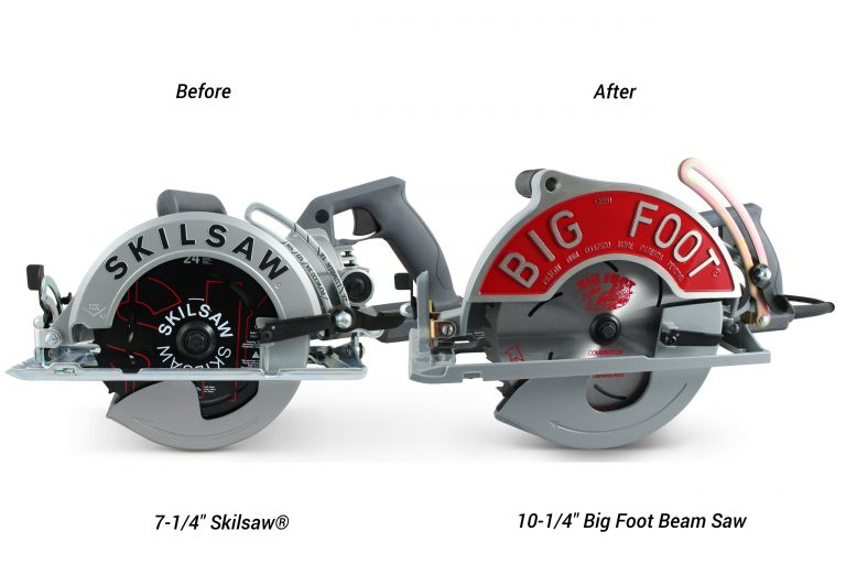 "convert your 7-1/4"" Skilsaw® worm-drive saw into 10-1/4"" Big Foot Beam Saws"